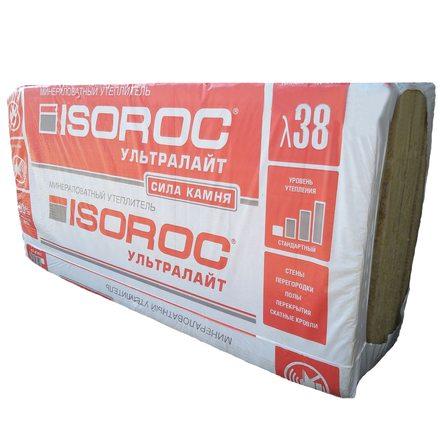 Каменная вата ISOROC Ультралайт (1200х600х50мм, 8 плит, 5.76м2, 0.288м3)