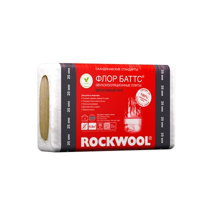 Утеплитель Rockwool Флор Баттс (1000х600х50, 4 плиты, 2.4м2, 0.12м3)