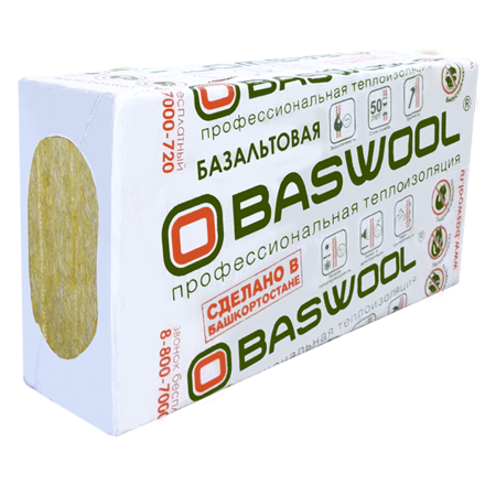 Каменная вата Baswool Фасад 140 (1200х600х50мм, 6 плит, 4.32м2, 0.216м3)